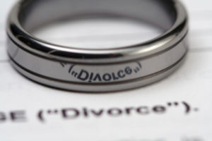 wedding ring on a divorce word on a paper