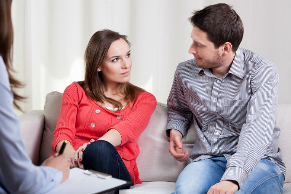 Divorced couple building relationship