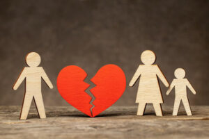 Divorce in family with children. Dad left the family and left mom with child